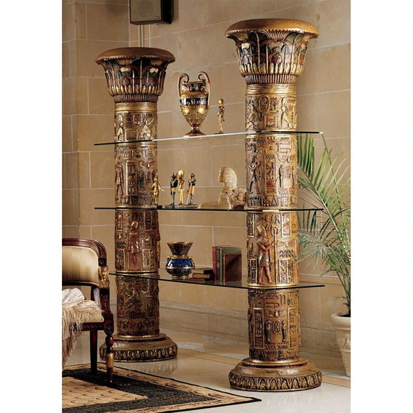 Columns Of Luxor Shelves Papyrus Hieroglyphs with 3 Glass Shelves 82H