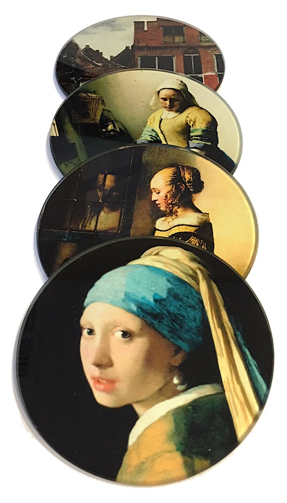Vermeer Paintings Glass Drink Bar Coffee Table Coasters Set of 4 with Storage Stand