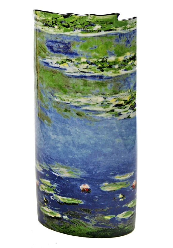 Waterlilles Blue Ceramic Museum Flower Vase by Monet 7.5H