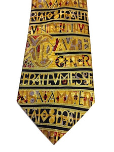 Medieval Stockholm Golden Gospels Manuscript Men Silk Neck Tie - Gold