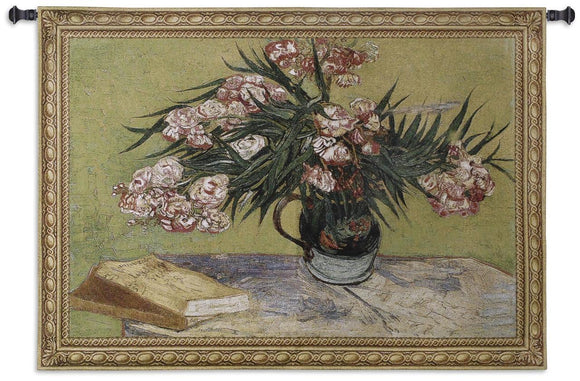 Van Gogh Oleanders Flowers in Vase Pink Green Woven Wall Hanging Museum Tapestry 53x38