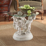 Bernini Three Cherubs Glass Top Sculptural Side Table 18H