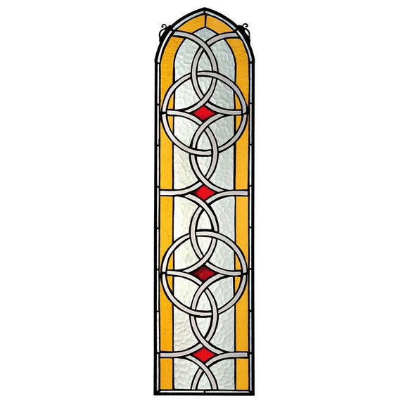 Celtic Knotwork Tiffany Style Stained Glass Window Yellow Red 35H