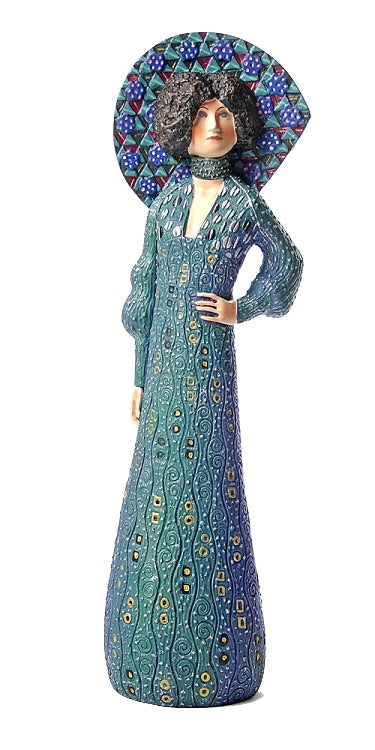 Emilie Floge Art Nouveau Blue Victorian Dress Portrait Statue by Gustav Klimt 9.5H