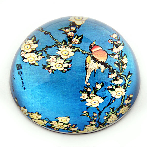 Bird Bullfinch and Blossoms Blue Glass Dome Desk Paperweight by Japanese Hokusai 3H