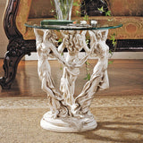 Three Muses Women Dancing Greek Glass Topped Sculptural Side Table 20H
