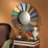 Lord Byrons Compendium of Books Fanned Into Circle Metal Wall Mirror 31.5H
