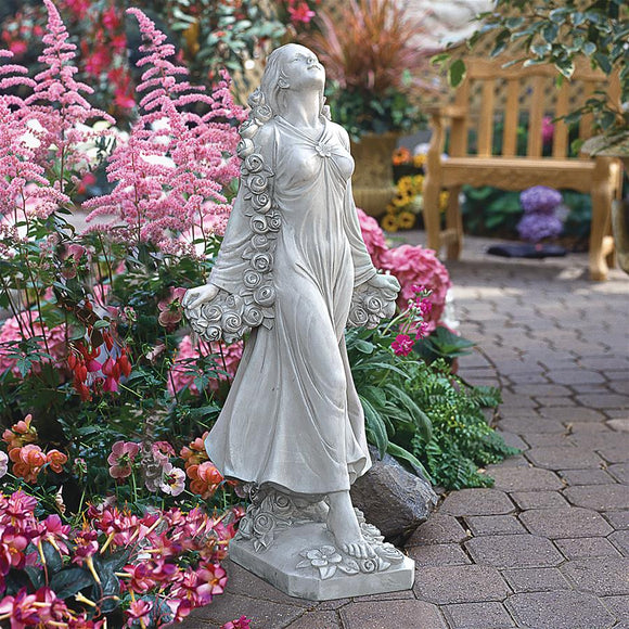 Flora Lady with Roses Divine Patroness of Gardens by Bronti 30.5H