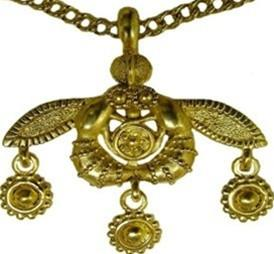 Greek Minoan Bees Necklace from Crete with Chain Necklace Gold Plate