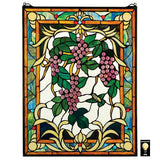 Grape Vineyard Multicolor Stained Glass Window 25H