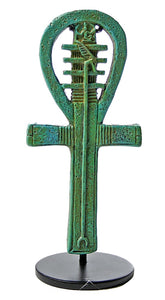 Egyptian Ankh Djed Was Amulet Small Statue on Stand 4H