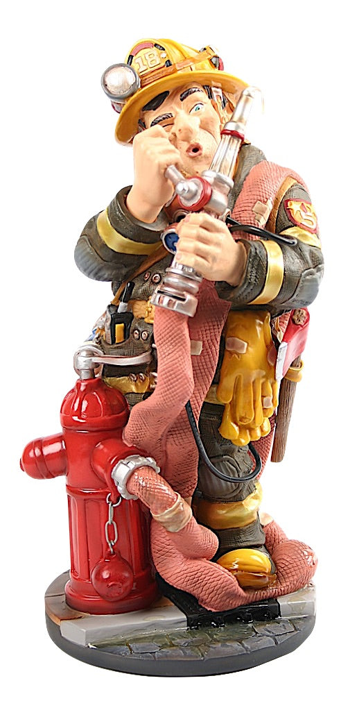 Fireman Ready For Work with Hose Caricature Profession Statue 13H