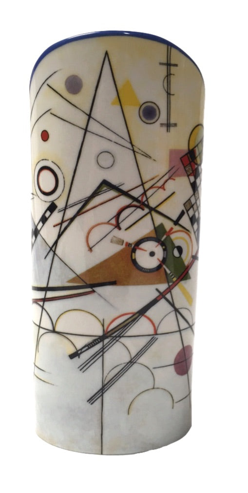 Kandinsky Modern Art Composition VIII Ceramic Flower Vase 9.2H