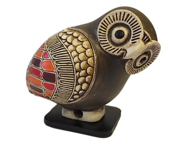 Owl Miniature Figurine Ancient Greek Color Painted Owl Replica Statue 2H