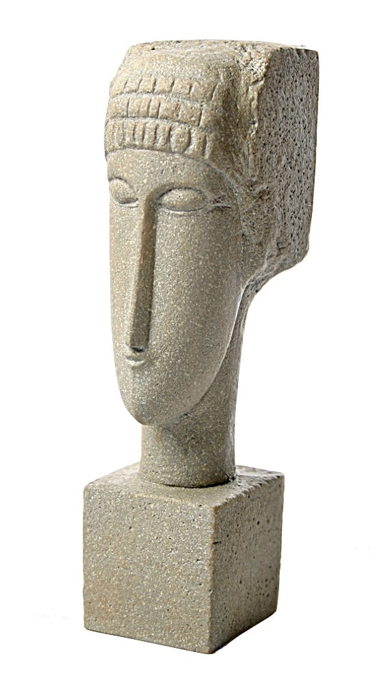 Modigliani Cubic Female Head Block Elongated Statue 7.5H, Parastone Collection