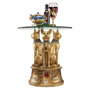 Bastet Three Cats Trio Looking Up Golden Egyptian Side Table 20H