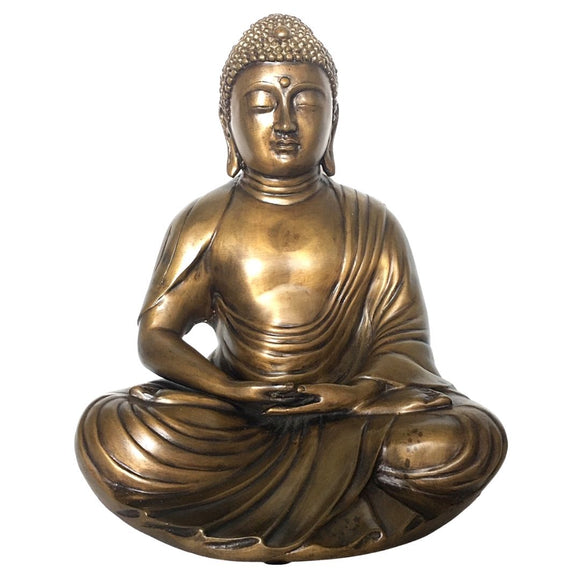 Large Bronze Metal Buddha in Meditation Statue 13.25H AS IS ATTIC no returns