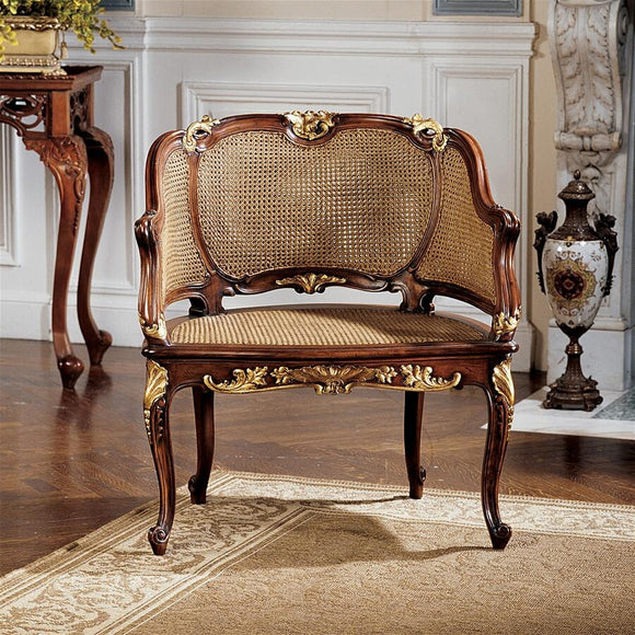 Louis XV French Rattan Chair Handcarved Mahogany Rococo 31H