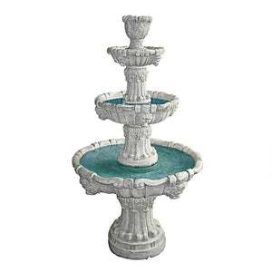 Medici Lion Four Tier Fountain Stone Finish 56H Frt-Nr