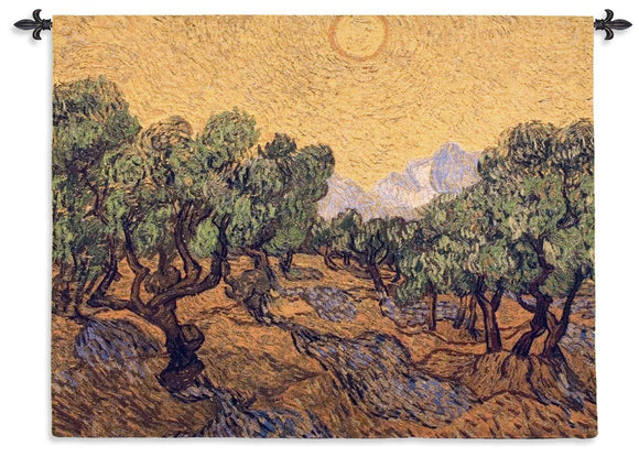 Van Gogh Olive Trees with Sun Yellow Green Brown Woven Wall Hanging Museum Tapestry 53x40