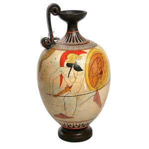 Two Warriors with Shields and Fallen Hero White Figure Greek Vase 12H