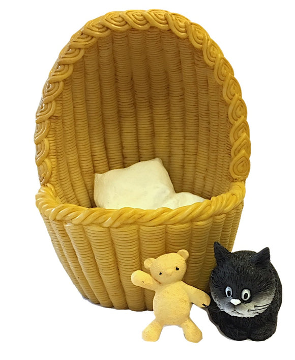Kitten Sleeping with Teddy Bear in Basket Cozy Nest Figurine by Dubout 3.75H