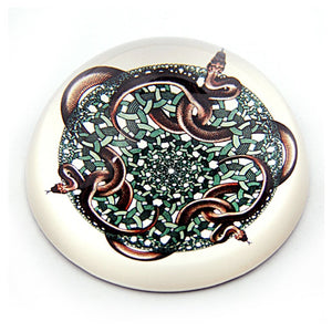 Snakes 1969 Tessellation Glass Dome Paperweight by M.C. Escher 3W
