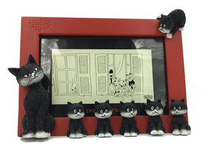 Dubout Cats in a Line Mama with Kittens Red Photo Frame 5H