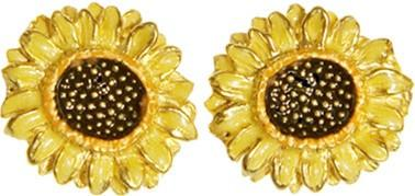 Sunflowers Yellow Orange Post Earrings with Color after Van Gogh