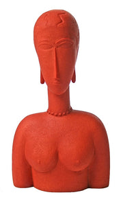 Modigliani Red Woman with Curvy Elongated Features Shows Oceanic Influence Statue 6.75H