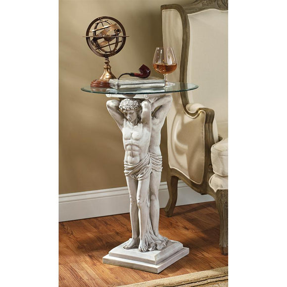 Greek Man Atlas Type Pediment Hermitage Atlantes Holding Up Glass Side Table with Glass 29H