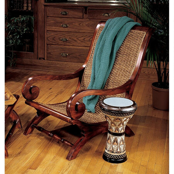 British Plantation Chair Woven Seat Dramatic Carved Swirl Arms Mahogany 35.5H