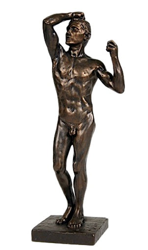 Age of Bronze Male Nude Raising Arm to Head Drawing Statue by Rodin 9H