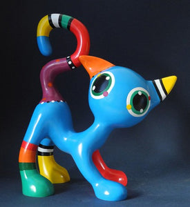 Jacky Zegers Django Cat Abstract Bright Colors  Pop Art Statue 9.8H