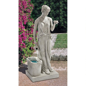 Hebe Goddess of Youth Classical Maiden Pouring Water Garden Fountain 37.5H
