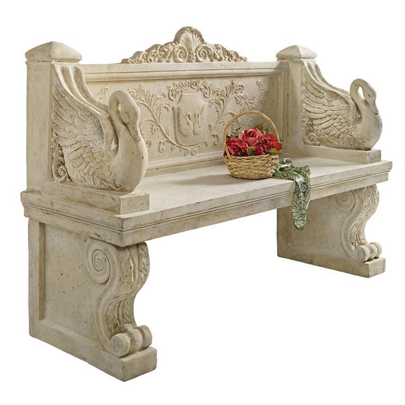 Giant Neoclassical Swan Garden Ornate Sitting Bench 64W Frt-Nr