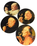 Priests Drinking Grutzner Paintings Glass Drink Bar Coasters Set of 4 with Storage Stand