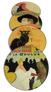 Parisian Posters Lautrec Steinlen Belle Epoque Bar Drink Glass Coasters Set of 4