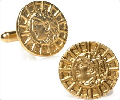 Alexander the Great Greek Leader Coin Replica Museum Cuff Links Gold Plate
