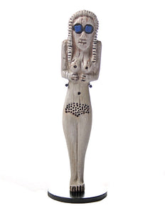 Egyptian Woman with Large Blue Eyes Mother Goddess Figurine Miniature Statue 5H