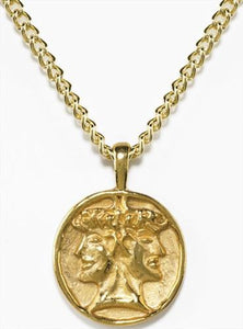 Etruscan Janus Double Headed Roman Pendant Necklace, Gold or Silver Plate