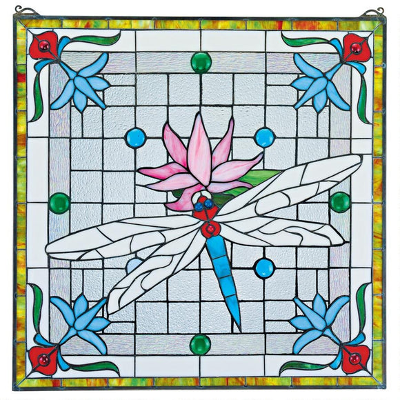 Dragonfly Pond Square Stained Glass Window Blue Grey Red 24.5H