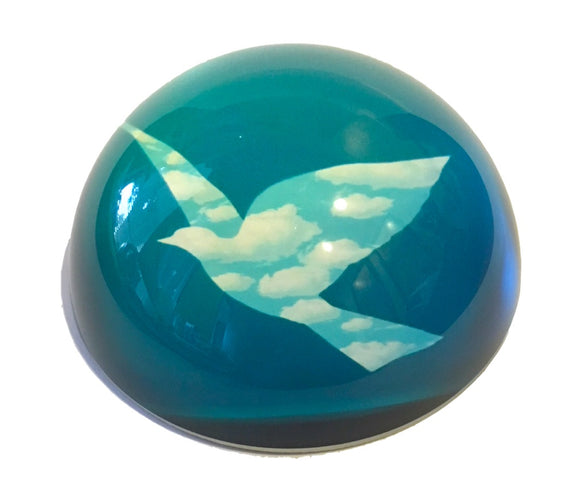 Bird in Clouds l'Oiseau de Ciel Surrealism Glass Dome Desk Paperweight by Magritte 3W