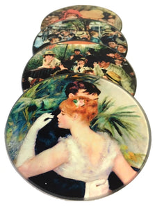 Renoir Paintings Glass Drink Bar Coffee Table Coasters Set of 4 with Storage Stand