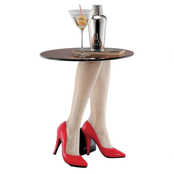 Woman Legs and Red Pumps Shoes Fishnets Heels Side Table Base with Glass 17.5H