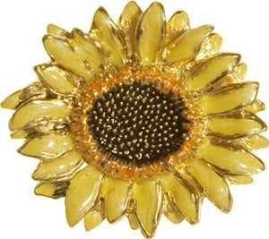 Sunflower Bright Yellow Color Enamel Brooch Pin after Van Gogh 1.5H