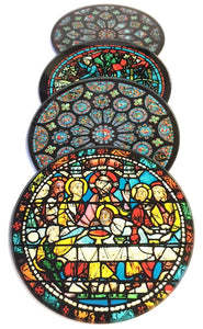 Chartres Cathedral Windows Glass Drink Bar Coasters Set of 4 with Storage Stand