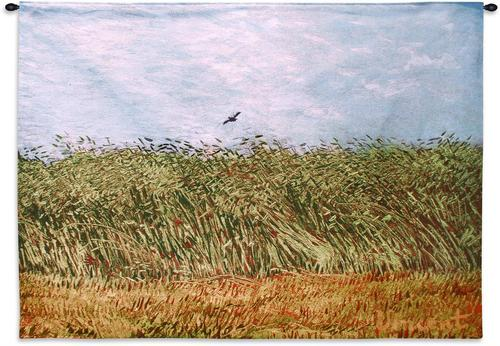 Van Gogh Wheat Field with Lark Orange Green Blue Woven Wall Hanging Museum Tapestry 53x38