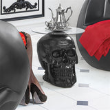 Skull Skeleton Head Side Table with Glass 19.5H - Black
