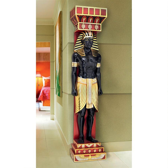 Egyptian Scribe Telemon Black Gold Red Large Wall Sculpture 78H